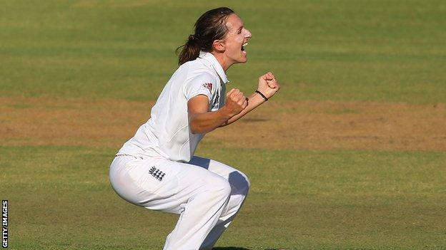 Kate Cross celebrates a wicket in an Ashes match, 2014