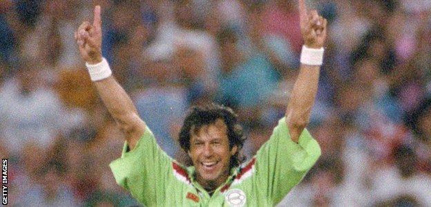 Imran Khan celebrates taking a wicket