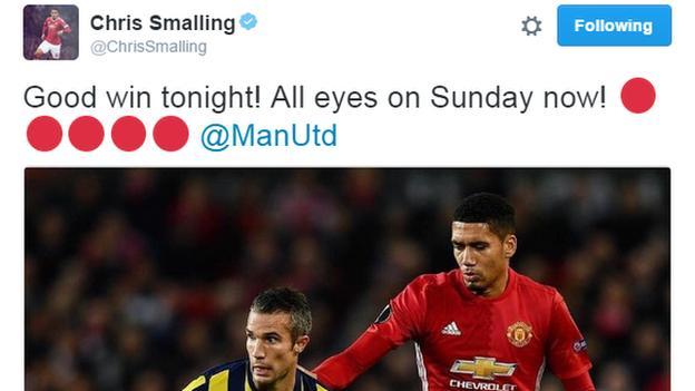 Chris Smalling's tweet on focusing on Sunday at Chelsea