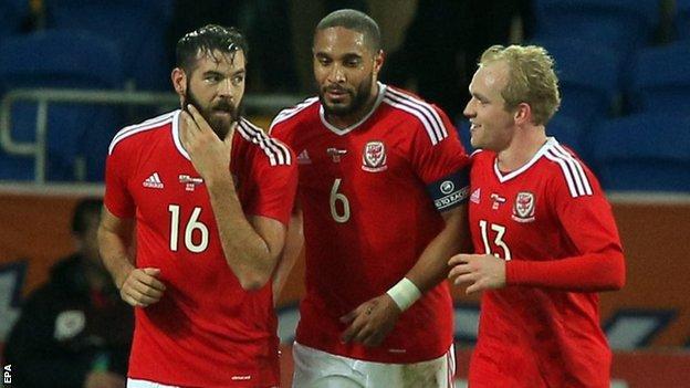 Wales team-mates Joe Ledley, Ashley Williams and Jonathan Williams discuss tactics against the Netherlands