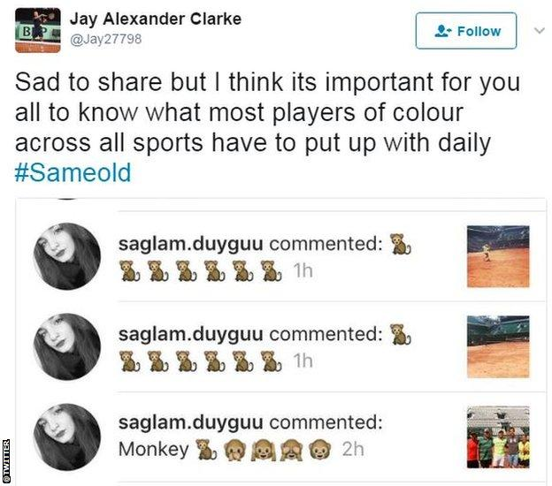 Jay Clarke tweet of racist abuse