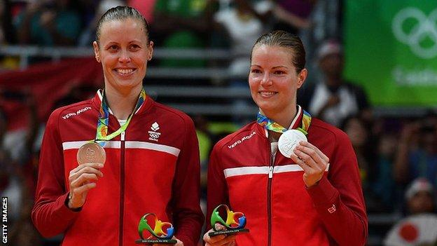 Kamilla Rytter Juhl and Christinna Pedersen with their Olympic silver medals
