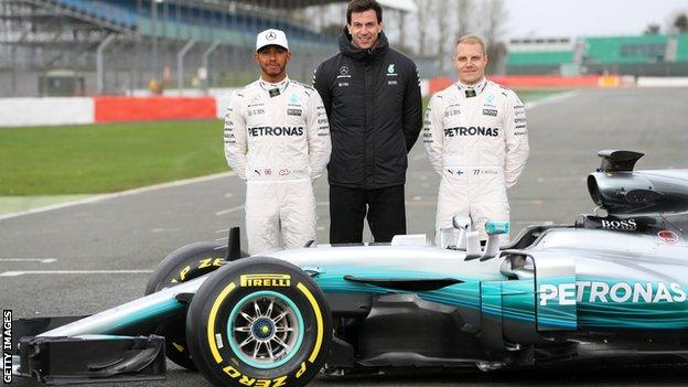 Mercedes 2017 team boss Toto Wolff and drivers Lewis Hamilton and Valtteri Bottas