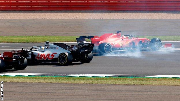 Ferrari's Sebastian Vettel spun out at the first corner at Silverstone on Sunday