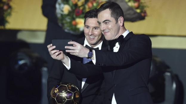 James Nesbitt takes a selfie with Lionel Messi