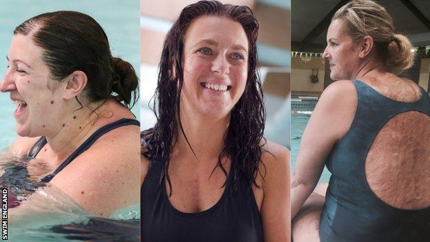 Maria Parker-Harris, Maria Davey and Sylvia MacGregor say swimming has helped them with depression and anxiety.