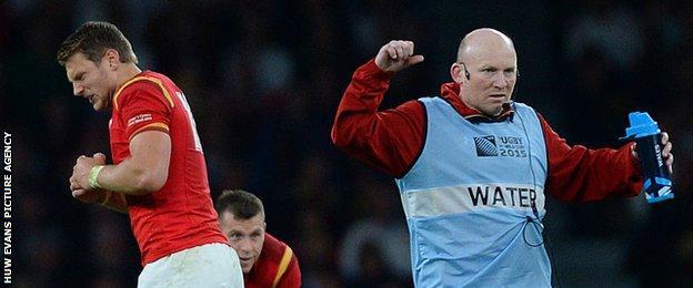 Neil Jenkins celebrates Dan Biggar's winning penalty in Wales 28-25 win over England
