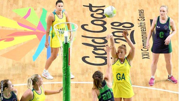 Steph Wood attempts a shot for Australia in the netball match against Northern Ireland