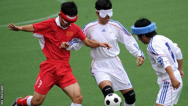 Zheng Wenfa of China competes during a men's visually impaired five-a-side game against Japan