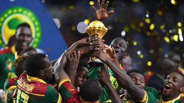 2017 champions Cameroon lift the Africa Cup of Nations