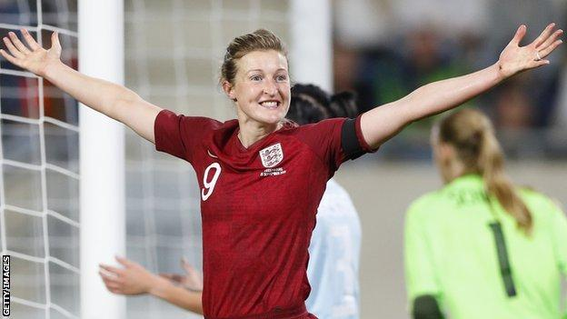 Ellen White celebrates one of her goals for England against Luxembourg