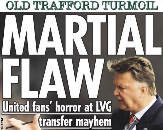 The Sun's early edition suggested United were panic buying by going after Anthony Martial