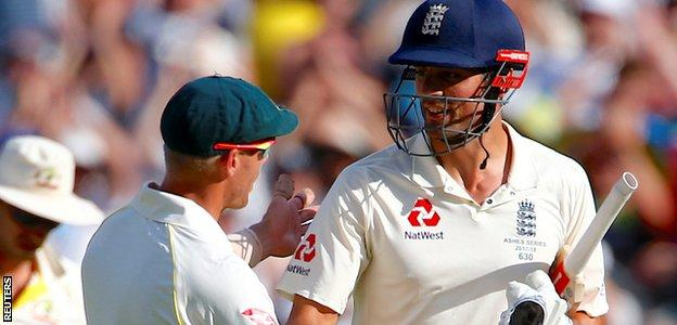 Alastair Cook was congratulated on his century by Australian players at the close