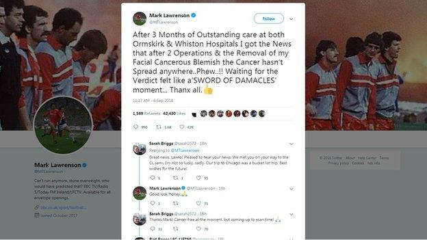 A tweet from Mark Lawrenson about his cancer scare