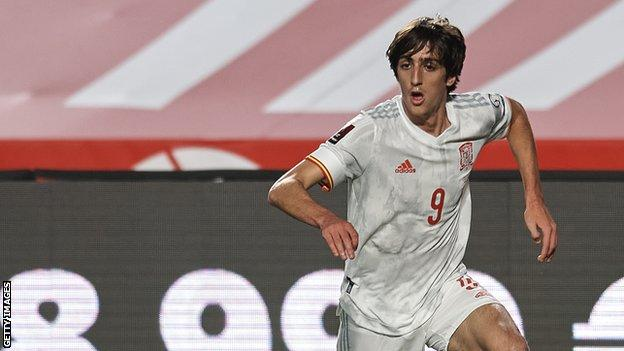 Bryan Gil in action for Spain