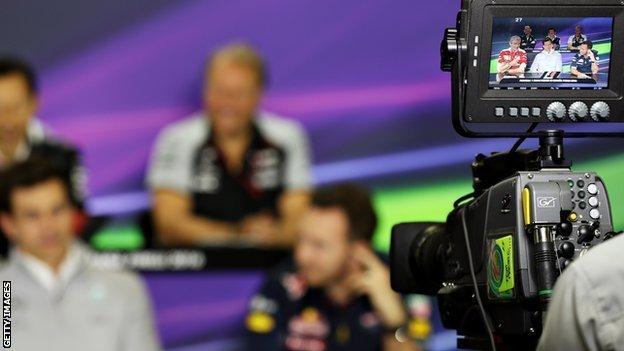 A camera recording at a F1 news conference