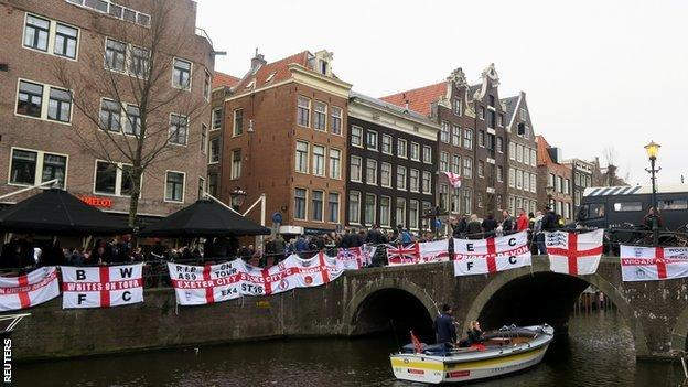 England flags along the canal
