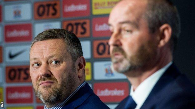 Billy Bowie and Kilmarnock manager Steve Clarke