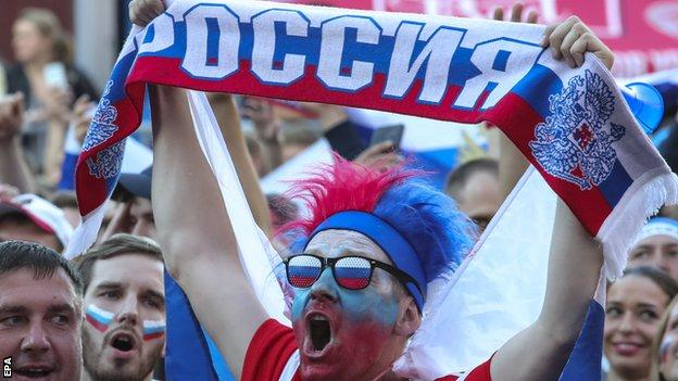 Russia supporters celebrating during the World Cup, which they hosted