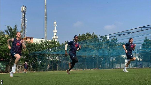 Ben Stokes, Jofra Archer and Rory Burns training in India