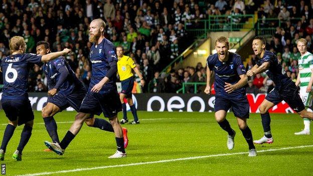 Malmo celebrate Jo Inge Berget's second goal