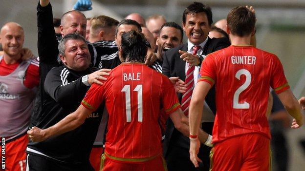 Gareth Bale celebrates after scoring Wales' winner in a 1-0 victory in Cyprus in Euro 2016 qualifying