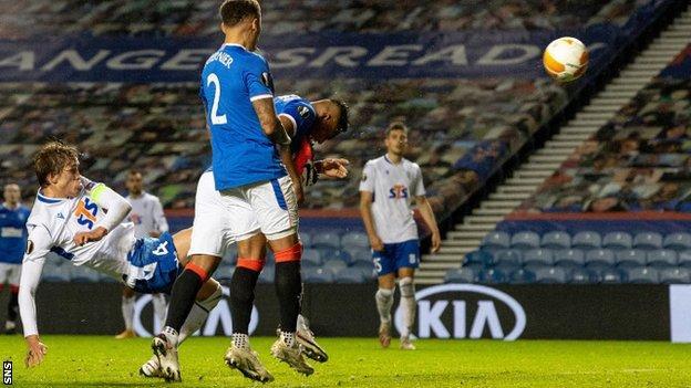 Rangers' Alfredo Morelos scores