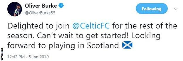 Oliver Burke tweet