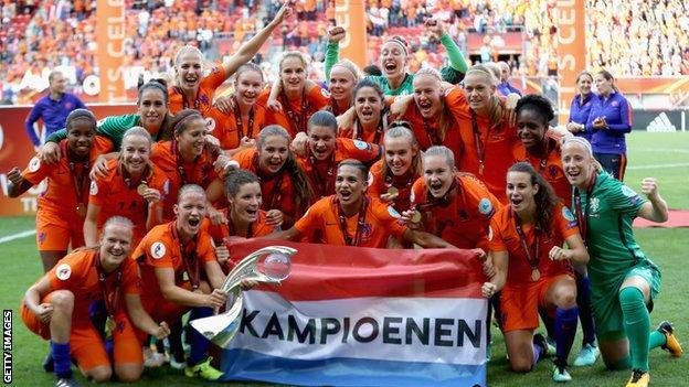 The Netherlands celebrate winning Euro 2017