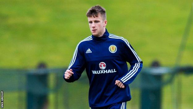 Liam Polworth training with Scotland Under-21s