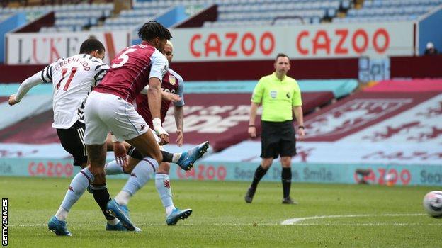 Mason Greenwood scores United's second goal against Villa