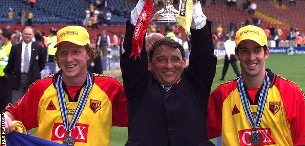Taylor returned for a second spell as Watford manager in 1996, leading them to the Division Two title and victory in the Division One play-offs (now the Championship)