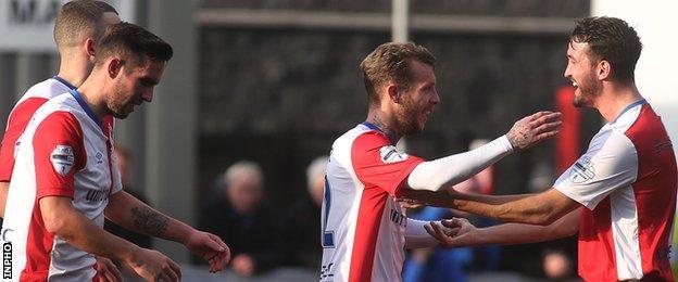Kirk Millar celebrates scoring for Linfield