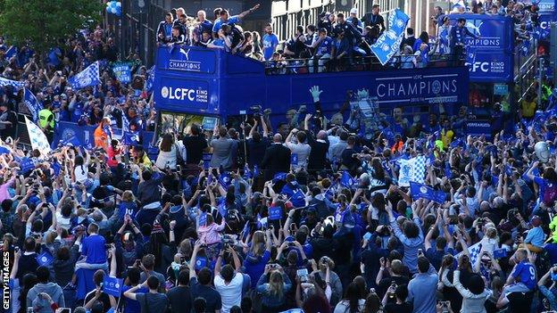 Leicester celebrate their 2015-16 Premier League title during an open-top bus parade