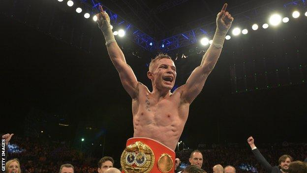 Frampton celebrates winning the IBF super-bantamweight title in front of 18,000 fans in Belfast seven years ago