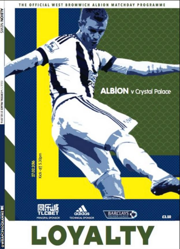 West Bromwich Albion programme cover for Saturday's home game with Crystal Palace