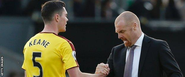 Michael Keane and Sean Dyche