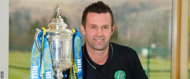 Celtic manager Ronny Deila with the Scottish Cup