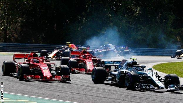 Valtteri Bottas fends of Kimi Raikkonen and Sebastian Vettel