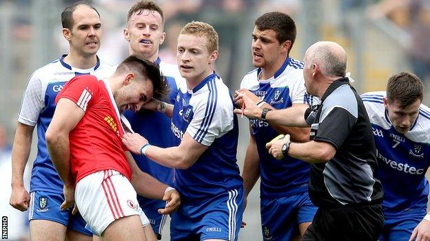 Tiernan McCann's theatrical fall after having his hair ruffled by Darren Hughes annoyed Monaghan players