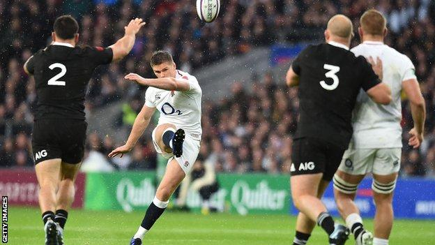 England's fly-half Owen Farrell in action against New Zealand