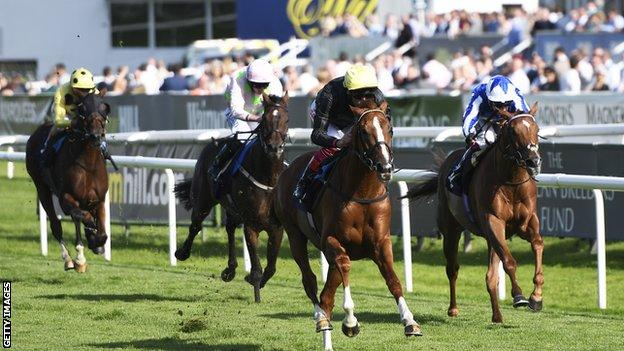 Frankie Dettori rides Stradivarius to victory in the Doncaster Cup