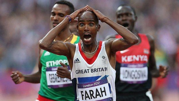 Mo Farah celebrates his second gold medal of the 2012 Olympic games