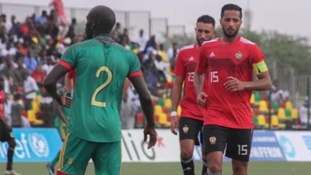 Ahmed Al Trbi in action for Libya against Mauritania