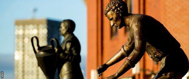 Statues of Jock Stein and Jimmy Johnstone outside Celtic Park