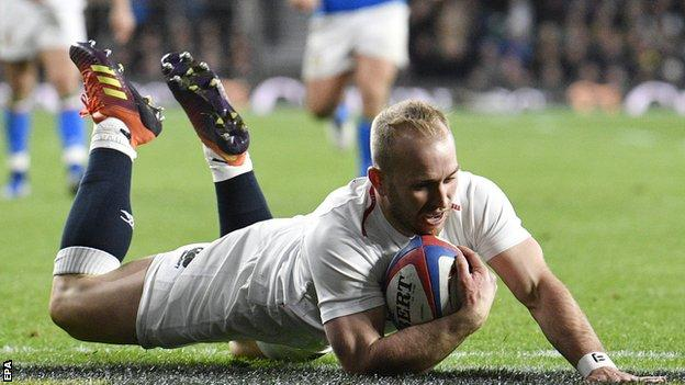 England scrum-half Dan Robson scores in the win over Italy