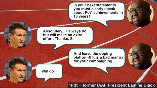 Text message exchange between Papa Massata Diack and Lord Coe on 13 August, 2015