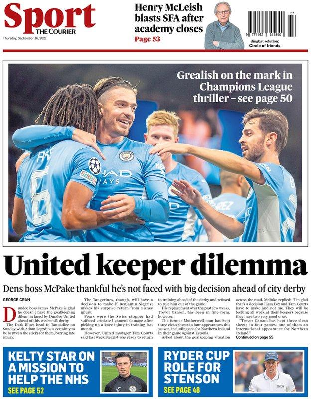 The back page of the Courier on 160921