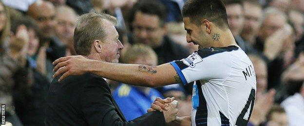 Newcastle boss Steve McClaren and striker Aleksandar Mitrovic