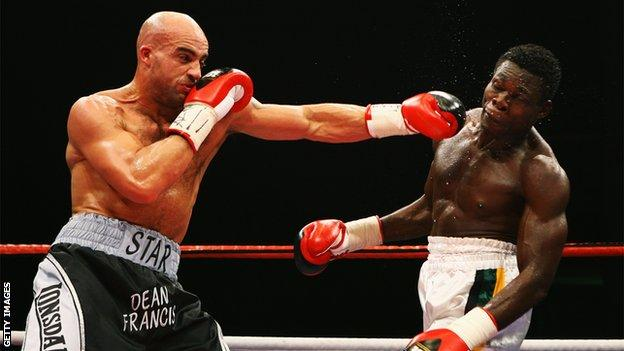 Dean Francis (l) beat Frederic Seillier to win the European super-middleweight title in 1997
